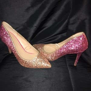 Pink and gold glitter heels